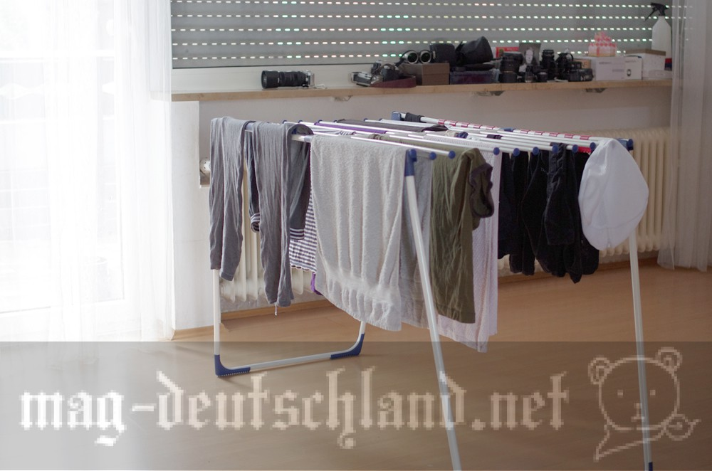 ドイツで洗濯物を干す