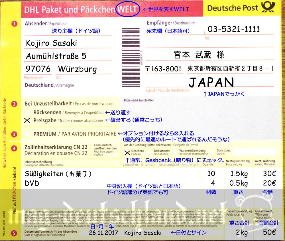ドイツから日本へ小包を送る際の伝票の書き方(クリックで超拡大します)